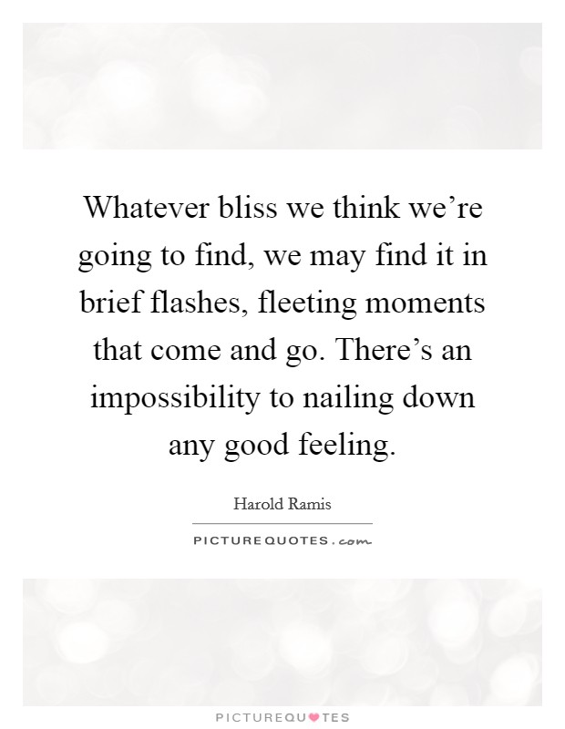 Whatever bliss we think we're going to find, we may find it in brief flashes, fleeting moments that come and go. There's an impossibility to nailing down any good feeling Picture Quote #1