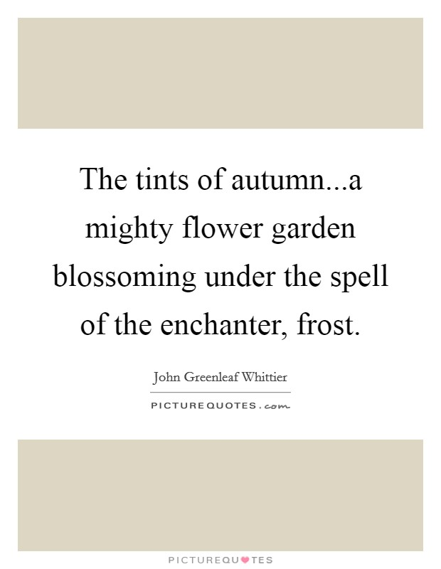 The tints of autumn...a mighty flower garden blossoming under the spell of the enchanter, frost Picture Quote #1