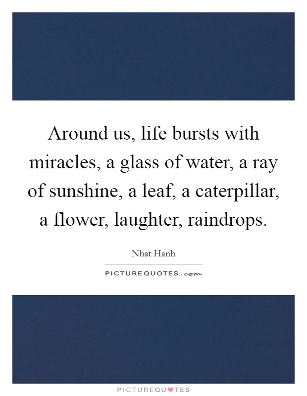 Around us, life bursts with miracles, a glass of water, a ray of sunshine, a leaf, a caterpillar, a flower, laughter, raindrops. Picture Quote #1