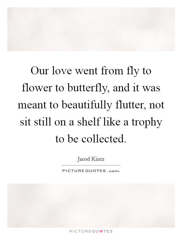 Our love went from fly to flower to butterfly, and it was meant to beautifully flutter, not sit still on a shelf like a trophy to be collected Picture Quote #1