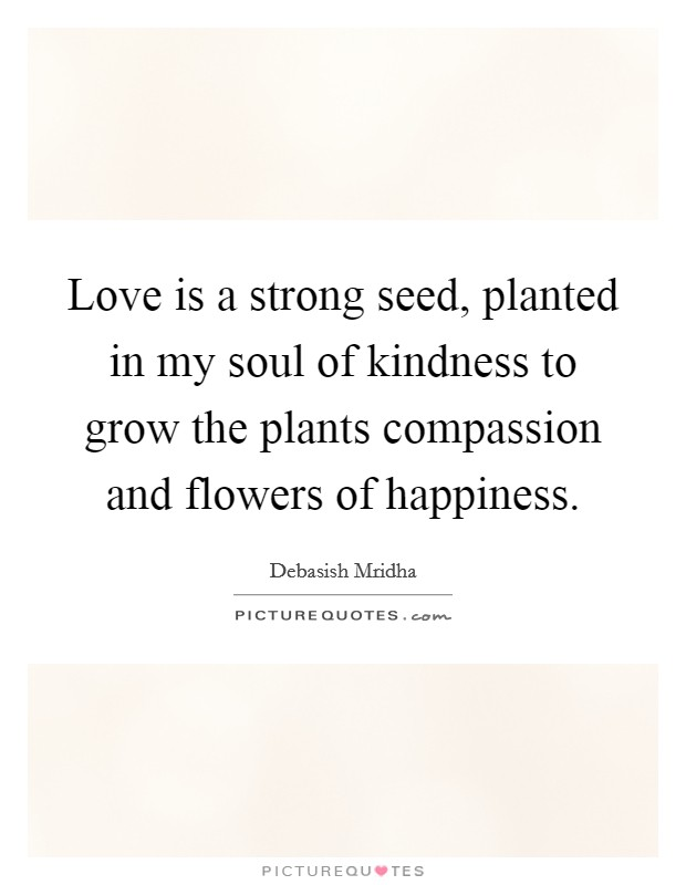 Love is a strong seed, planted in my soul of kindness to grow the plants compassion and flowers of happiness Picture Quote #1