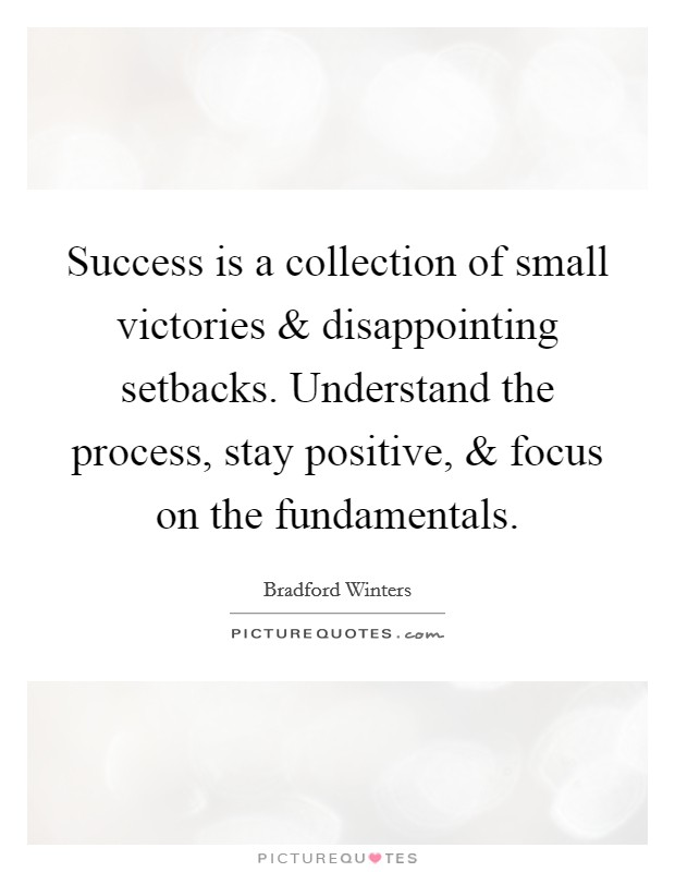Success is a collection of small victories and disappointing setbacks. Understand the process, stay positive, and focus on the fundamentals Picture Quote #1