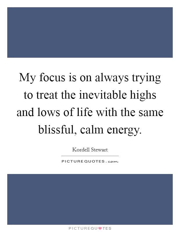 My focus is on always trying to treat the inevitable highs and lows of life with the same blissful, calm energy Picture Quote #1