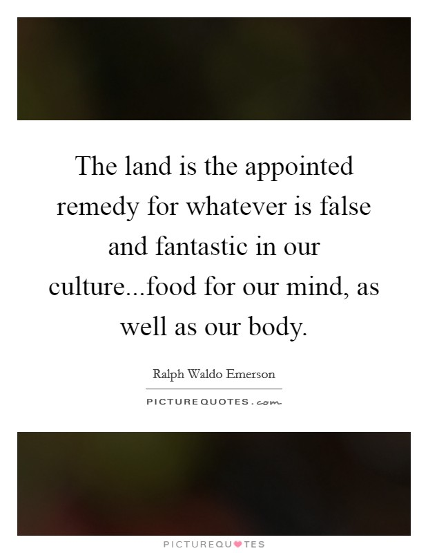 The land is the appointed remedy for whatever is false and fantastic in our culture...food for our mind, as well as our body Picture Quote #1
