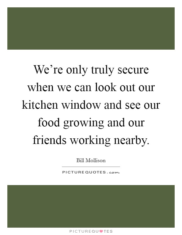 We're only truly secure when we can look out our kitchen window and see our food growing and our friends working nearby Picture Quote #1