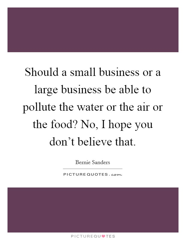 Should a small business or a large business be able to pollute the water or the air or the food? No, I hope you don't believe that. Picture Quote #1