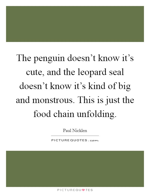 The penguin doesn't know it's cute, and the leopard seal doesn't know it's kind of big and monstrous. This is just the food chain unfolding Picture Quote #1