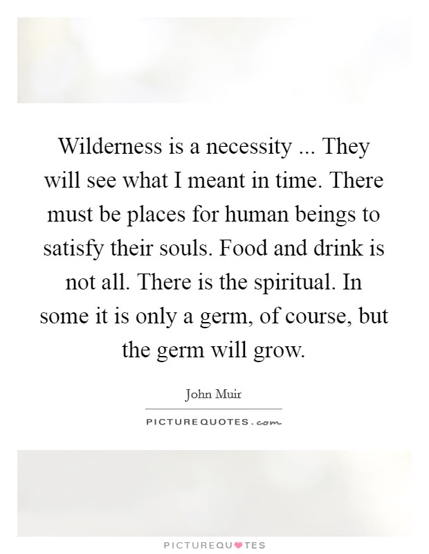 Wilderness is a necessity ... They will see what I meant in time. There must be places for human beings to satisfy their souls. Food and drink is not all. There is the spiritual. In some it is only a germ, of course, but the germ will grow. Picture Quote #1
