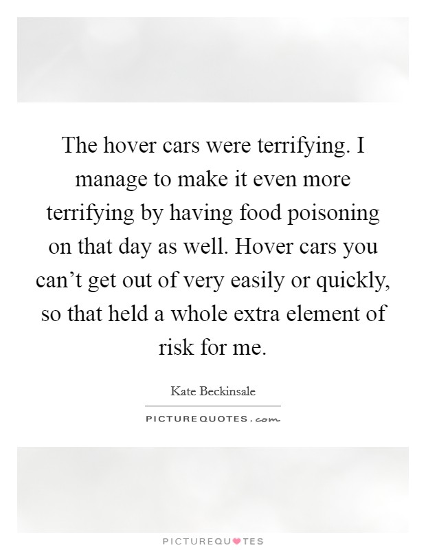 The hover cars were terrifying. I manage to make it even more terrifying by having food poisoning on that day as well. Hover cars you can't get out of very easily or quickly, so that held a whole extra element of risk for me Picture Quote #1