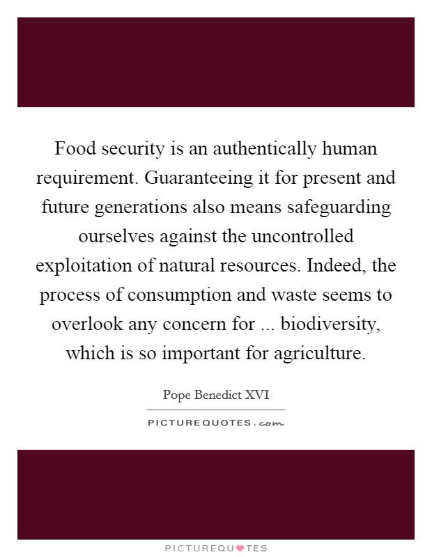 Food security is an authentically human requirement. Guaranteeing it for present and future generations also means safeguarding ourselves against the uncontrolled exploitation of natural resources. Indeed, the process of consumption and waste seems to overlook any concern for ... biodiversity, which is so important for agriculture. Picture Quote #1