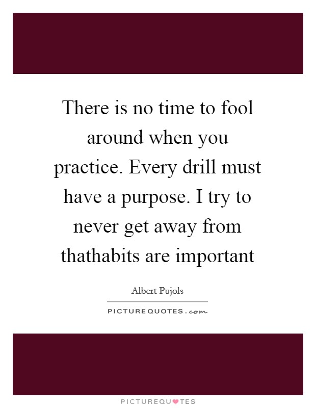 There is no time to fool around when you practice. Every drill must have a purpose. I try to never get away from thathabits are important Picture Quote #1