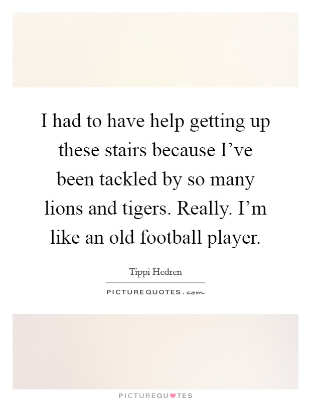 I had to have help getting up these stairs because I've been tackled by so many lions and tigers. Really. I'm like an old football player. Picture Quote #1
