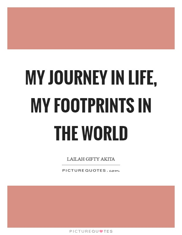 My journey in life, my footprints in the world Picture Quote #1