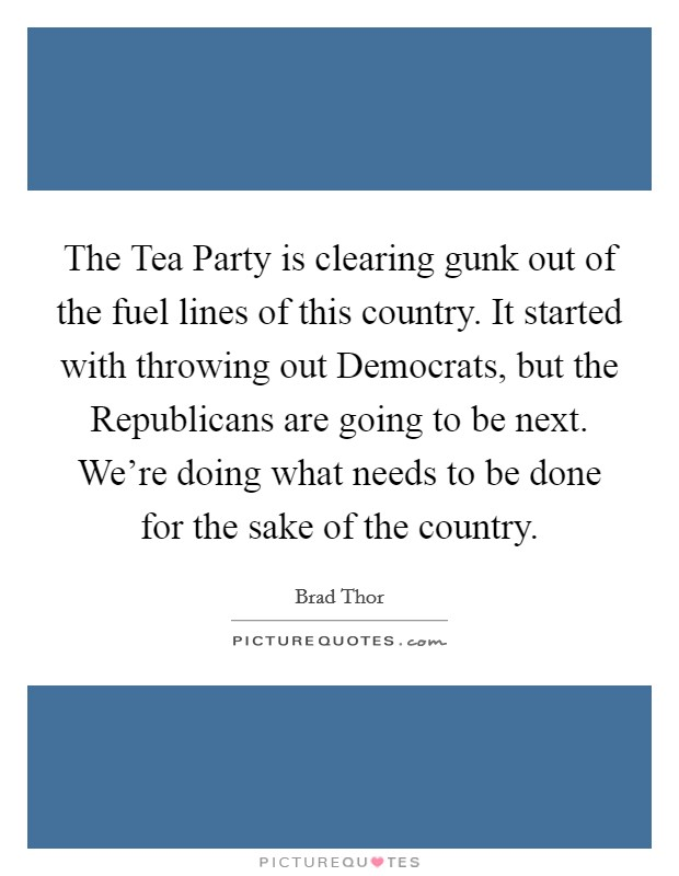 The Tea Party is clearing gunk out of the fuel lines of this country. It started with throwing out Democrats, but the Republicans are going to be next. We're doing what needs to be done for the sake of the country Picture Quote #1