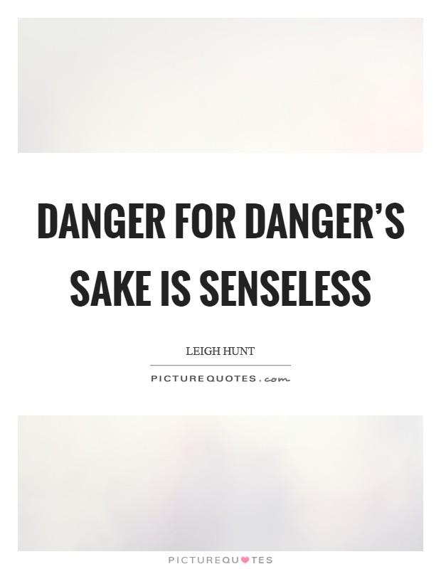 Danger for danger's sake is senseless Picture Quote #1