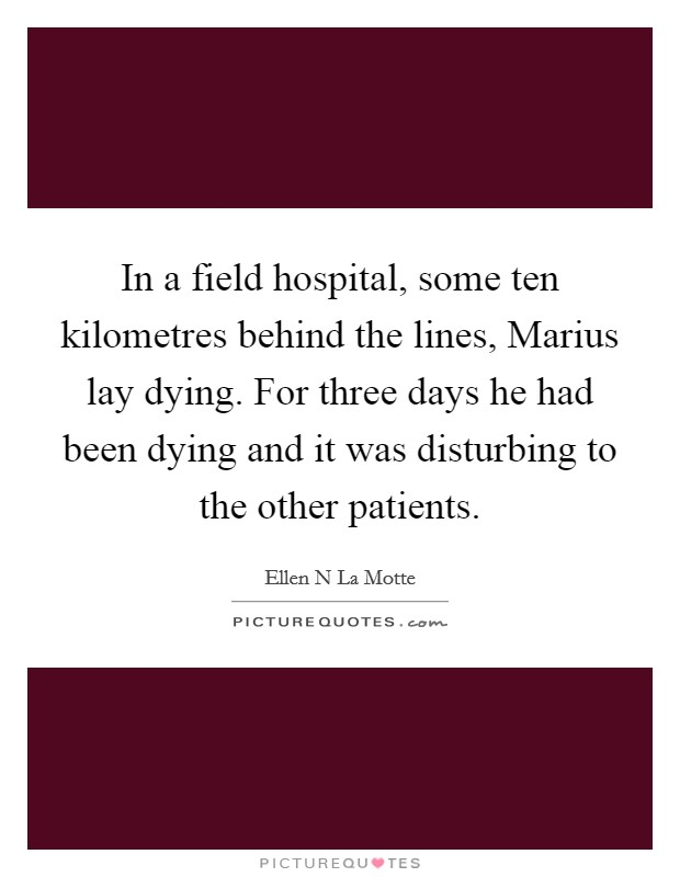 In a field hospital, some ten kilometres behind the lines, Marius lay dying. For three days he had been dying and it was disturbing to the other patients Picture Quote #1