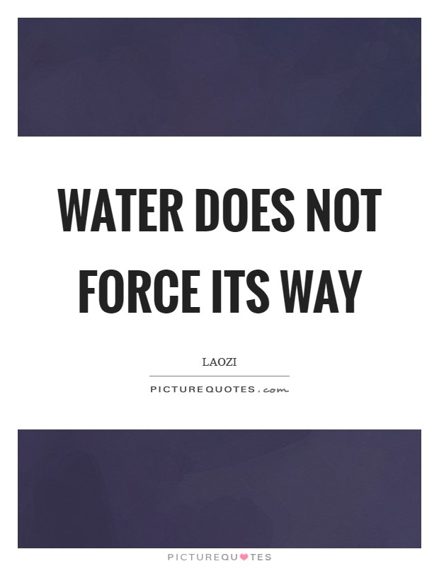 Water does not force its way Picture Quote #1