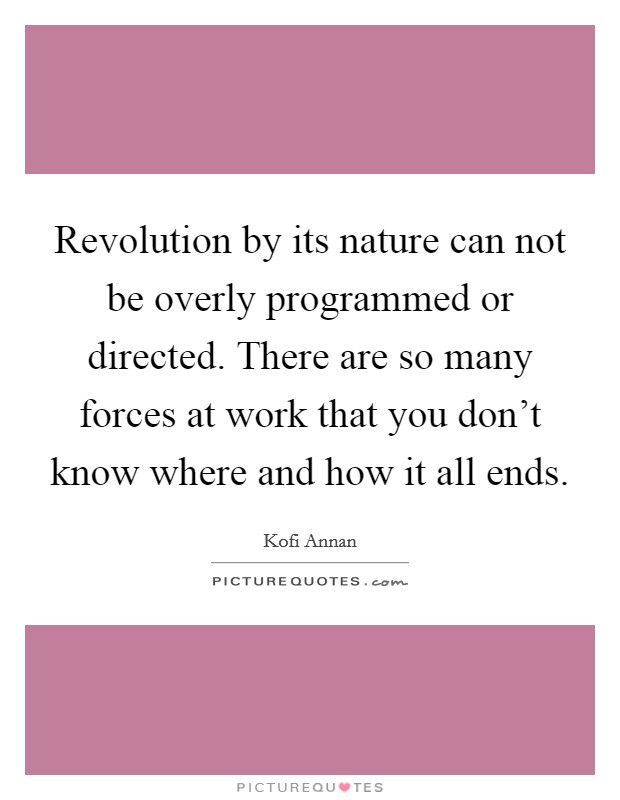 Revolution by its nature can not be overly programmed or directed. There are so many forces at work that you don't know where and how it all ends Picture Quote #1