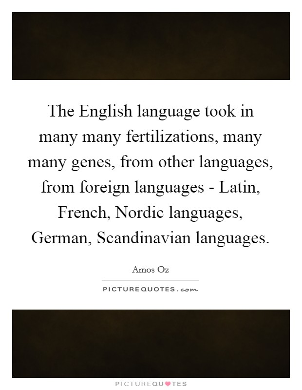 The English language took in many many fertilizations, many many genes, from other languages, from foreign languages - Latin, French, Nordic languages, German, Scandinavian languages Picture Quote #1