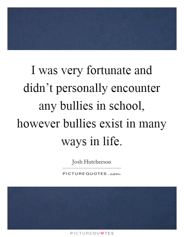 I was very fortunate and didn't personally encounter any bullies in school, however bullies exist in many ways in life Picture Quote #1