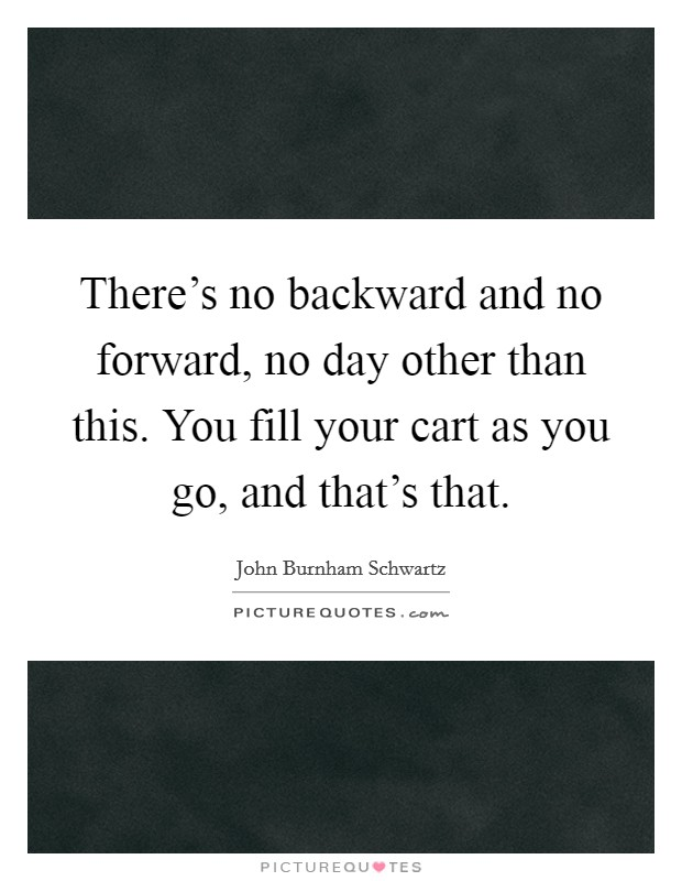 There's no backward and no forward, no day other than this. You fill your cart as you go, and that's that Picture Quote #1