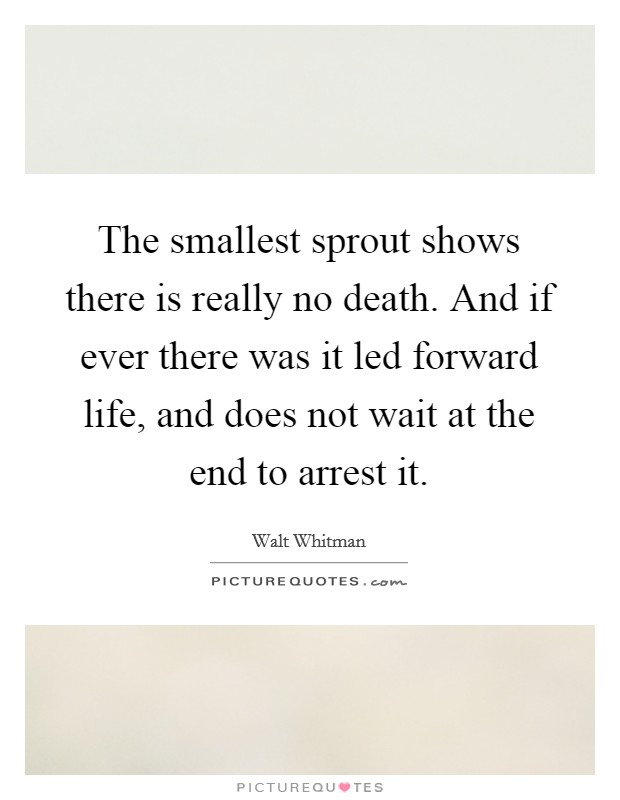 The smallest sprout shows there is really no death. And if ever there was it led forward life, and does not wait at the end to arrest it Picture Quote #1