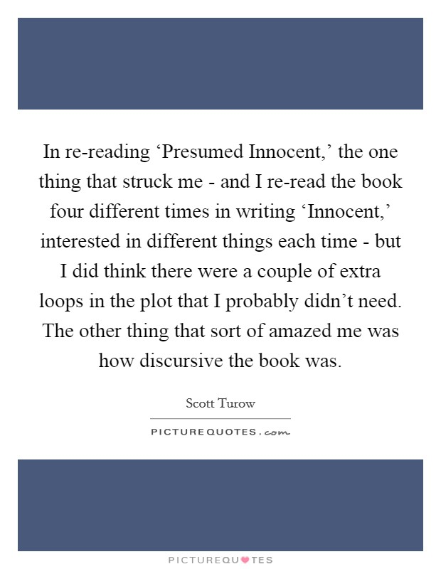 in re reading presumed innocent the one thing that struck me - Presumed Innocent Book