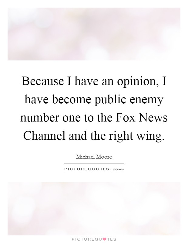 Because I have an opinion, I have become public enemy number one to the Fox News Channel and the right wing Picture Quote #1