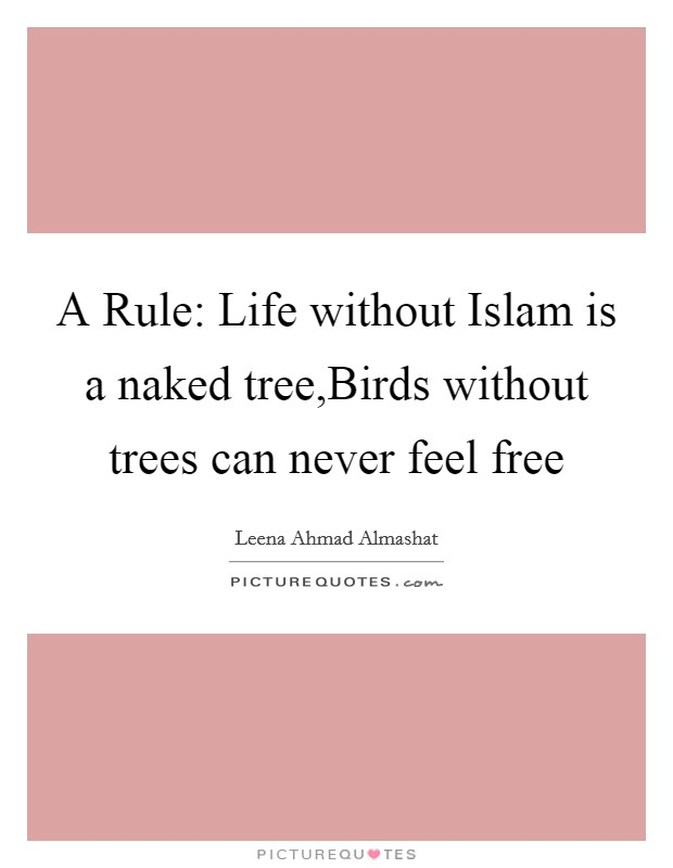 A Rule: Life without Islam is a naked tree,Birds without trees can never feel free Picture Quote #1