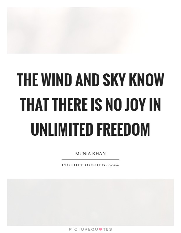 The wind and sky know that there is no joy in unlimited freedom Picture Quote #1