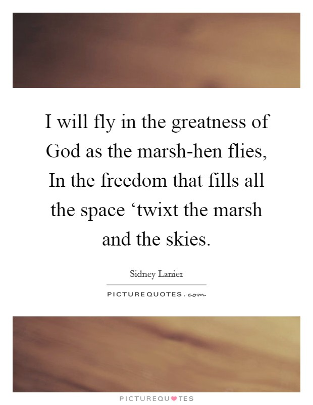 I will fly in the greatness of God as the marsh-hen flies, In the freedom that fills all the space 'twixt the marsh and the skies Picture Quote #1