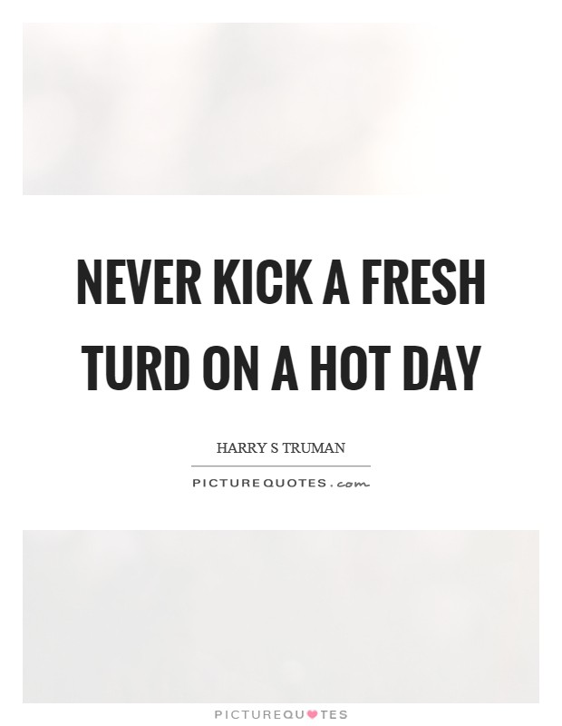 Never kick a fresh turd on a hot day Picture Quote #1
