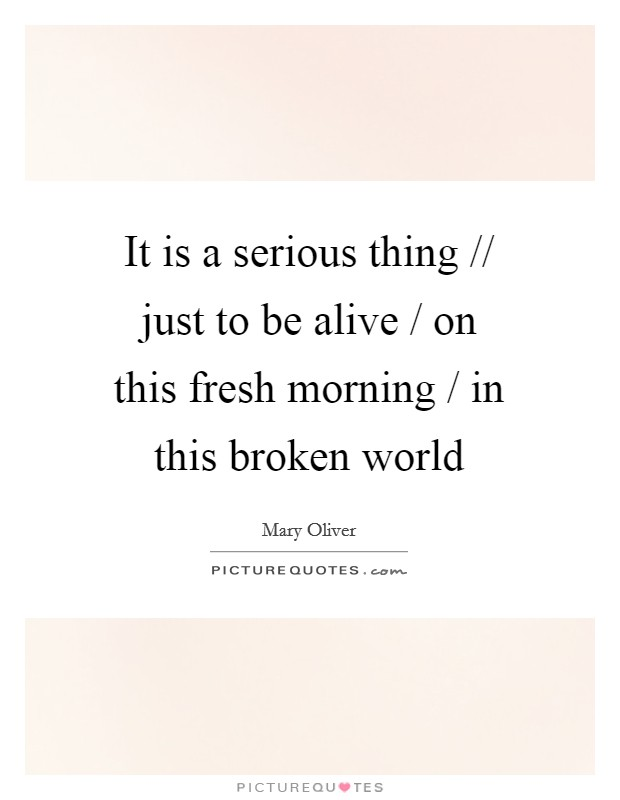 It is a serious thing // just to be alive / on this fresh morning / in this broken world Picture Quote #1