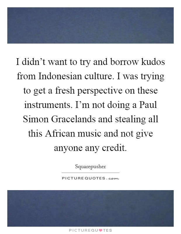 I didn't want to try and borrow kudos from Indonesian culture. I was trying to get a fresh perspective on these instruments. I'm not doing a Paul Simon Gracelands and stealing all this African music and not give anyone any credit Picture Quote #1