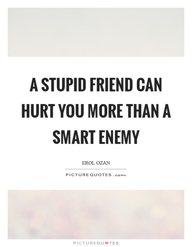 A stupid friend can hurt you more than a smart enemy Picture Quote #1