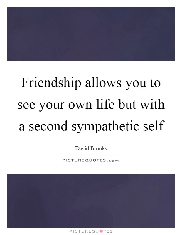 Friendship allows you to see your own life but with a second sympathetic self Picture Quote #1