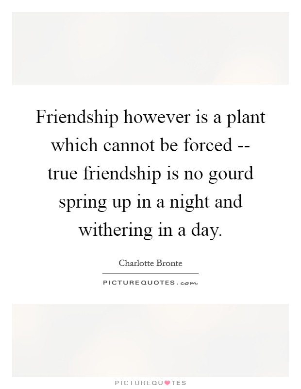 Friendship however is a plant which cannot be forced -- true friendship is no gourd spring up in a night and withering in a day Picture Quote #1