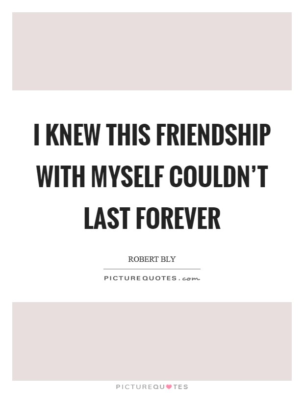 I knew this friendship with myself couldn't last forever Picture Quote #1