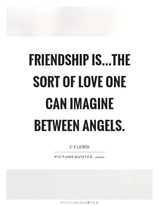 Friendship is...the sort of love one can imagine between angels Picture Quote #1