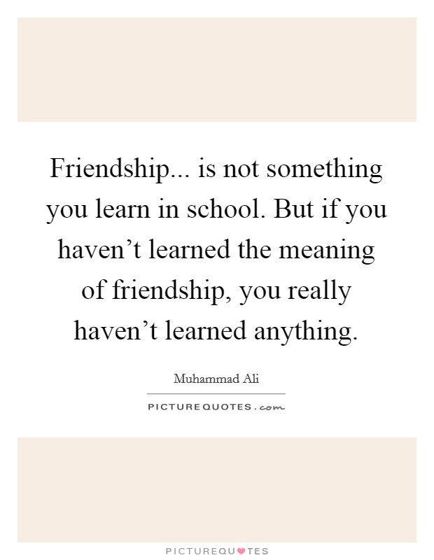 Friendship... is not something you learn in school. But if you haven't learned the meaning of friendship, you really haven't learned anything Picture Quote #1