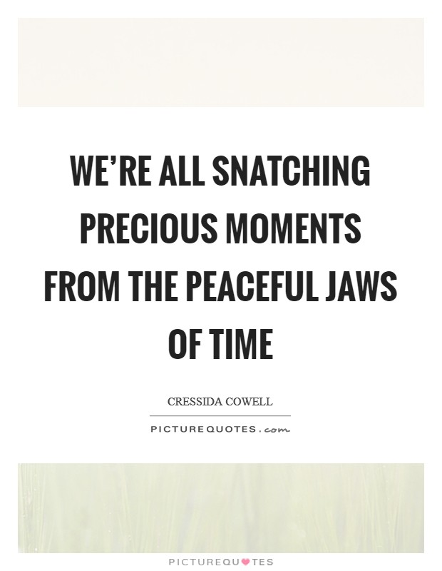 We're all snatching precious moments from the peaceful jaws of time Picture Quote #1