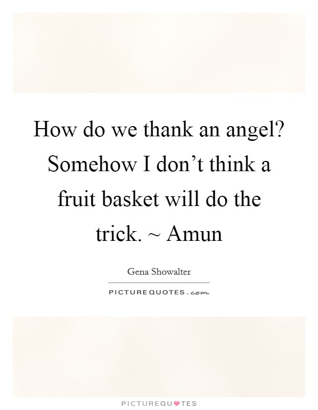 How do we thank an angel? Somehow I don't think a fruit basket will do the trick. ~ Amun Picture Quote #1