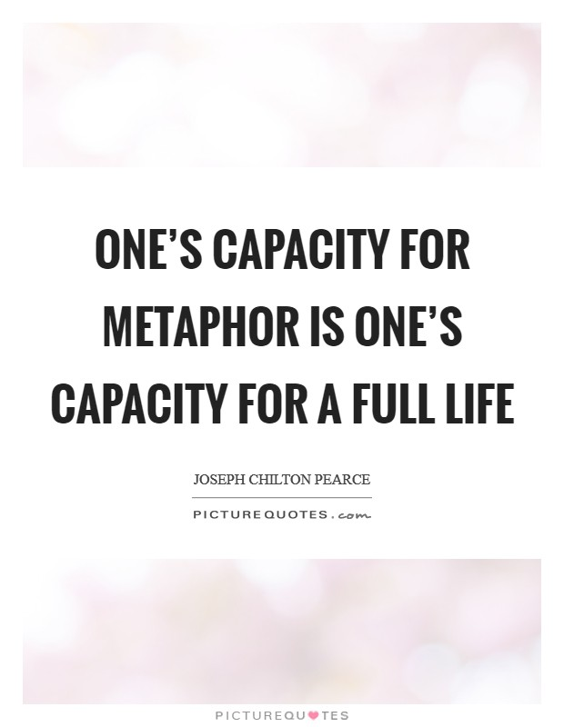 One's capacity for metaphor is one's capacity for a full life Picture Quote #1