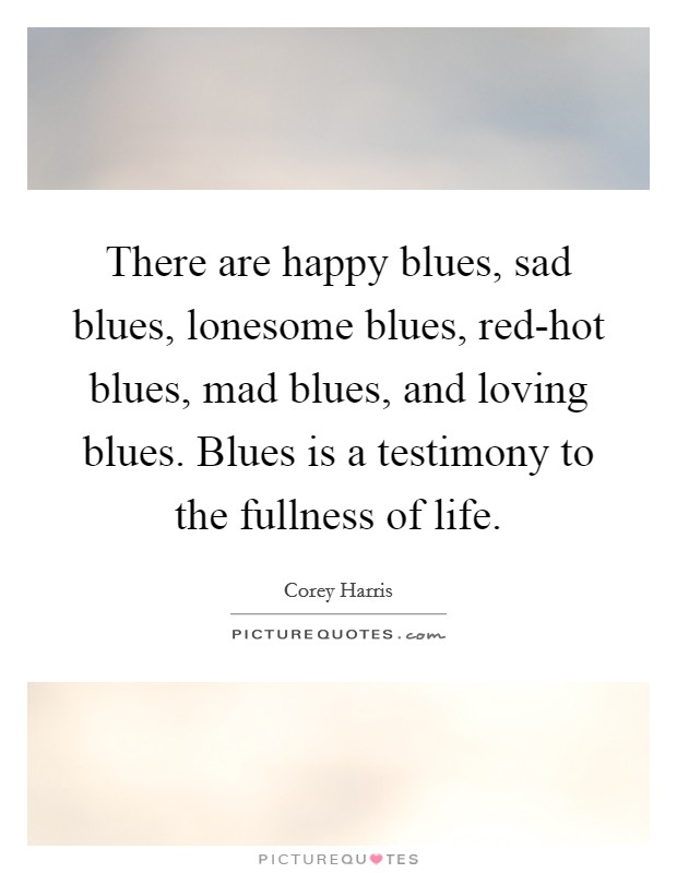 There are happy blues, sad blues, lonesome blues, red-hot blues, mad blues, and loving blues. Blues is a testimony to the fullness of life Picture Quote #1