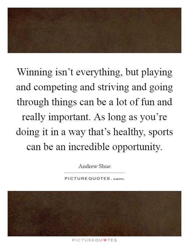 Winning isn't everything, but playing and competing and striving and going through things can be a lot of fun and really important. As long as you're doing it in a way that's healthy, sports can be an incredible opportunity Picture Quote #1