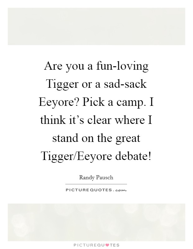 Are you a fun-loving Tigger or a sad-sack Eeyore? Pick a camp. I think it's clear where I stand on the great Tigger/Eeyore debate! Picture Quote #1