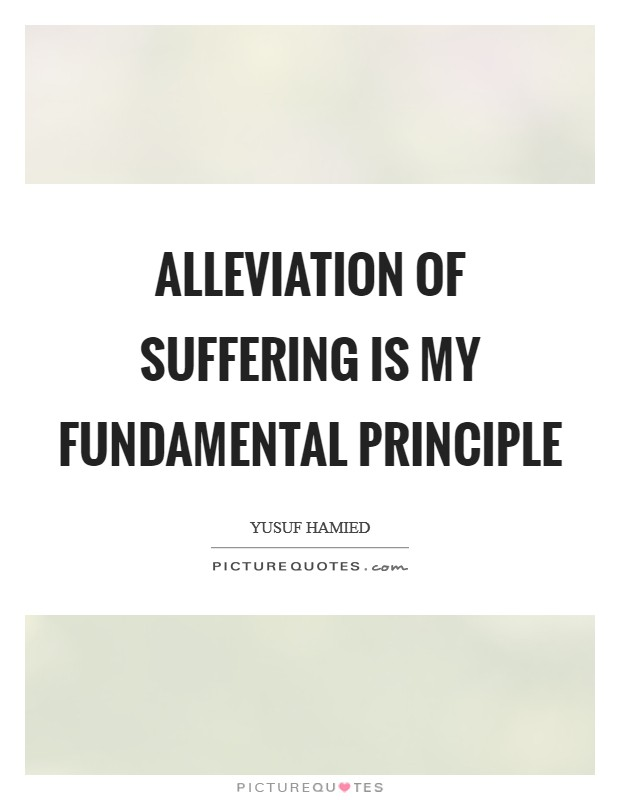 Alleviation of suffering is my fundamental principle Picture Quote #1