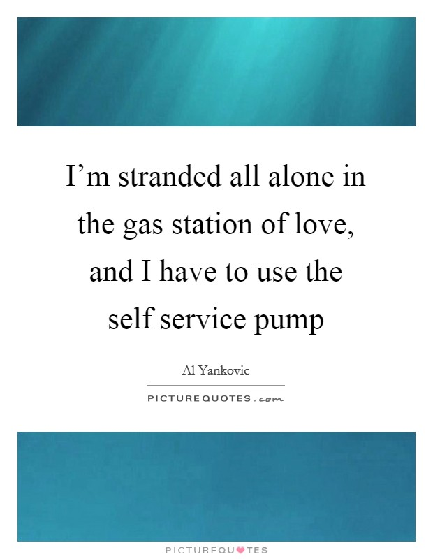 I'm stranded all alone in the gas station of love, and I have to use the self service pump Picture Quote #1