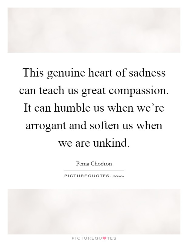 This genuine heart of sadness can teach us great compassion. It can humble us when we're arrogant and soften us when we are unkind Picture Quote #1