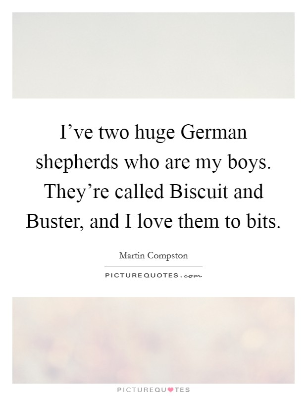 I've two huge German shepherds who are my boys. They're called Biscuit and Buster, and I love them to bits Picture Quote #1
